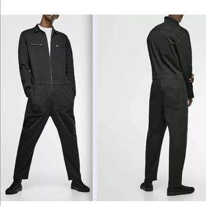 Zara Man Black Collar Loose Jumpsuit New Small